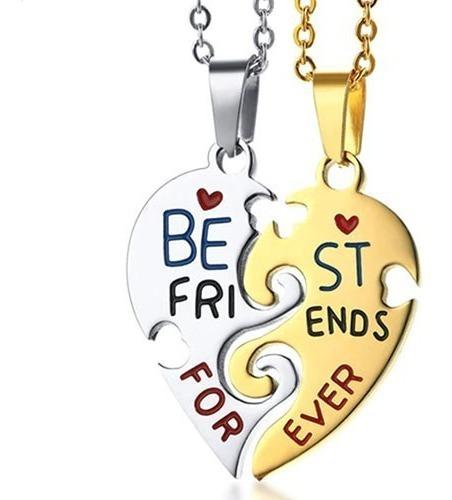 Colar Duplo Da Amizade Best Friends Namorados Aço Inoxidável