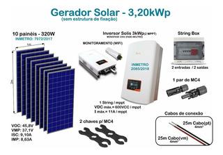 Kit Solar 3,20kw (10 Placas + Inversor + String Box + Wifi)