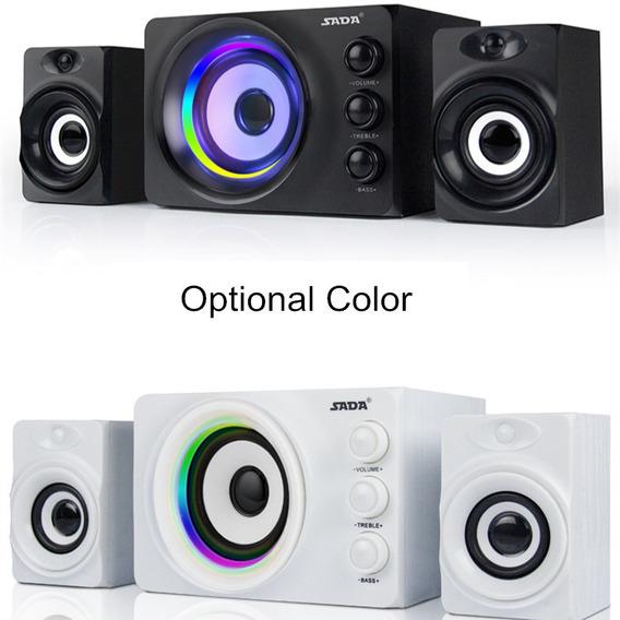 Casa Theaters 2.1 Speakers Computador Colorido Luz Bluetooth