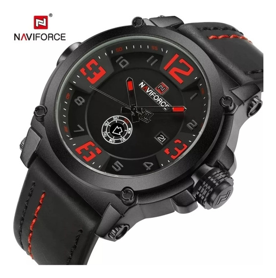 Relógio Masculino Esportivo Militar Naviforce 9099 - Couro