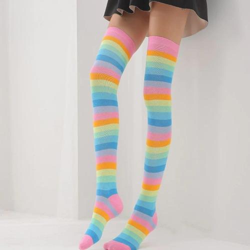 Imagen 1 de 1 de Medias Largas Colores Panties Rayada A Rodilla Calcetines