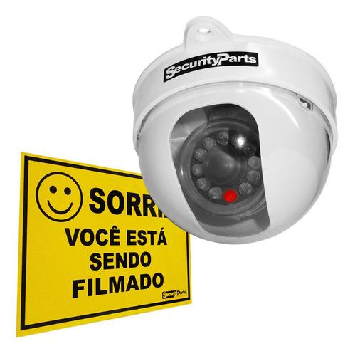 Câmera Segurança Dome Falsa  Infra Com Led Security Parts