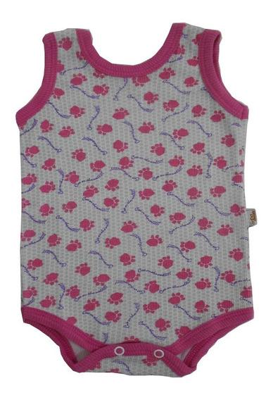 Body Para Bebê Feminino Cavado E Estampado Pink - Baby Duck