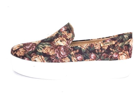 Tênis Flatform Quality Shoes Feminino 004 Floral