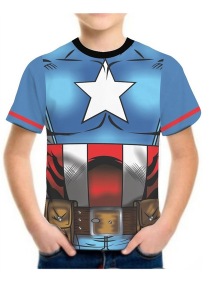 Camisa Camiseta Infantil Masculina Roupas Herois Famosas 3d