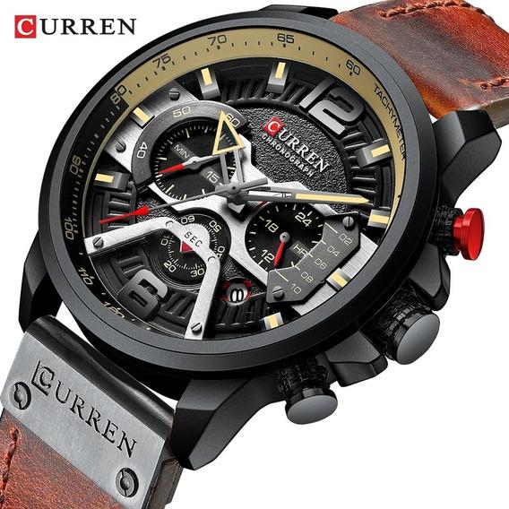 Relógio Curren 8329 Original Cronógrafo Funcional De Couro