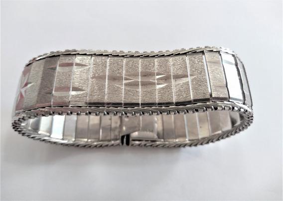 Elegante Braçalete Antigo De Prata