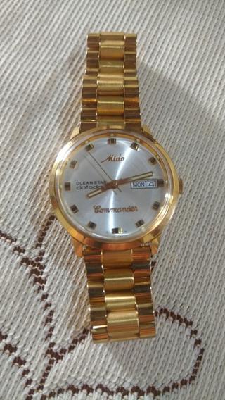 Relógio Mido Automátic Ocean Star Comander Plaquê Ouro 40mm