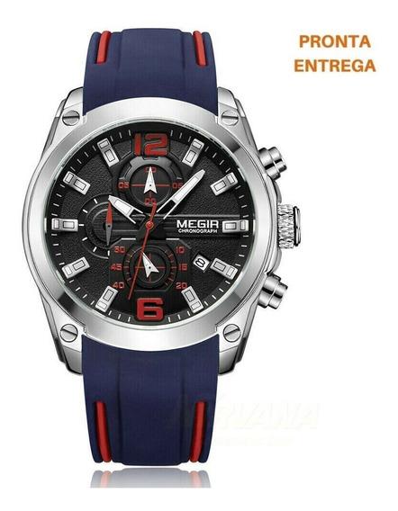 Relógio Megir 2063 Azul - Pulseira D Silicone