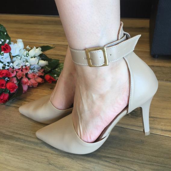 Sapato Salto Alto Fino Luxo Confort Nude Preto Ou Caramelo