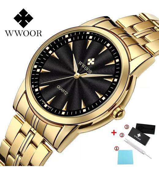 Relógio Masculino Dourado Com Caixa A Prova D