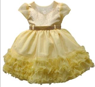 Vestido Festa Infantil Luxo Princesa Magali Bela E A Fera