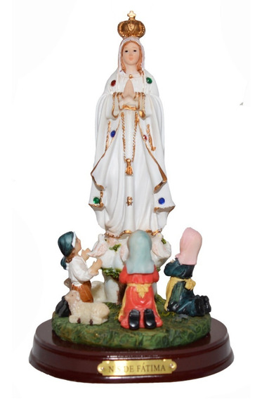 Imagem Nossa Senhora De Fátima Com Pastorinhos Tamanho 19cm