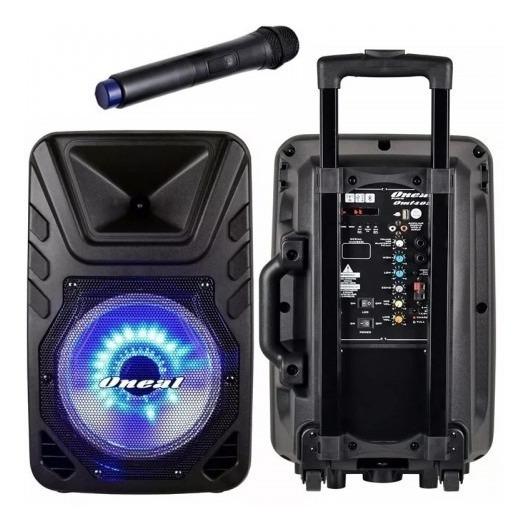 Caixa De Som Amplificada C/ Bateria Oneal Omf450 Mic S/ Fio