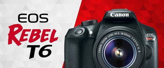 Câmera Canon Digital Eos Rebel T6 Ef-s 18-55 F/3.5-5.6