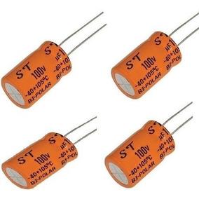 06 Capacitor Eletrolitico - Bipolar 100uf X 100v P/ Cornetas