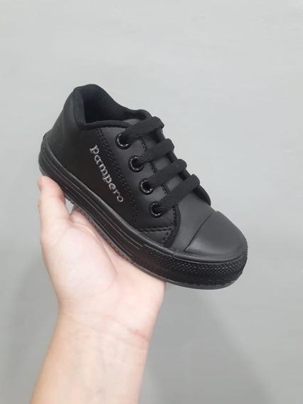 Zapatillas Colegiales Pampero Sintetico Negras Con Cordones
