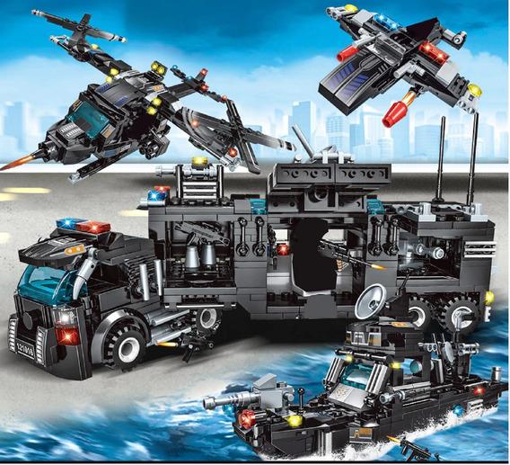 Brinquedo Blocos Montar Police 8 Em 1 Policia Swat Lego