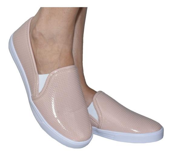 Tênis Sapatenis Feminino Slip On Super Confortavel Moda 383