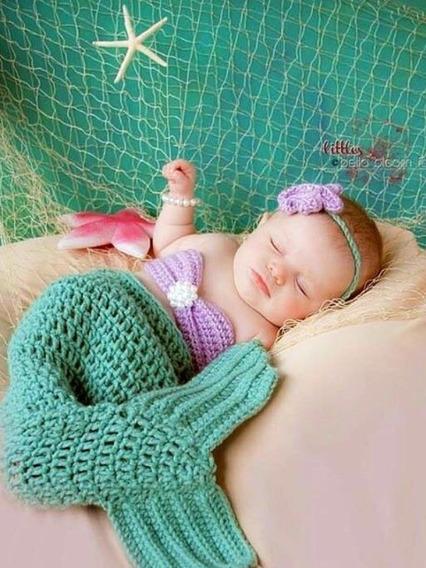 Sereia De Crochê Recem Nascido Ate 3 Meses