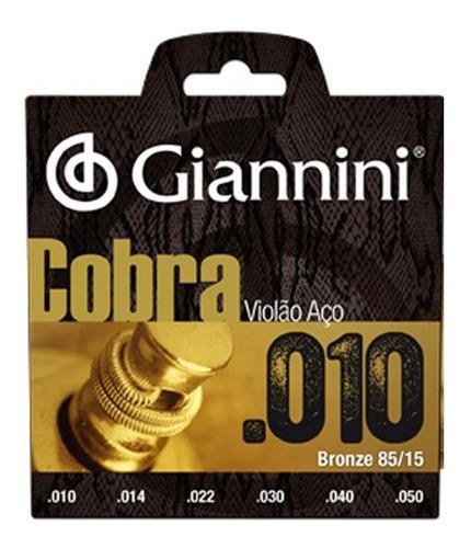 Encordoamento Violão Aço 010 Giannini Cobra 85/15