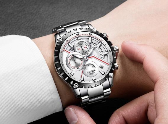 Relógio Pulso - Lige 9838 42mm Aço Inox