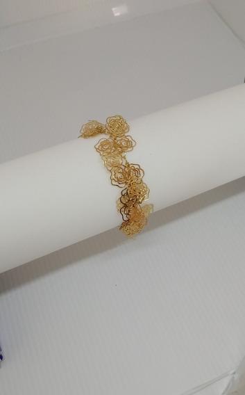 Pulseira Bracelete Feminina Banhada C/10camadas De Ouro P10