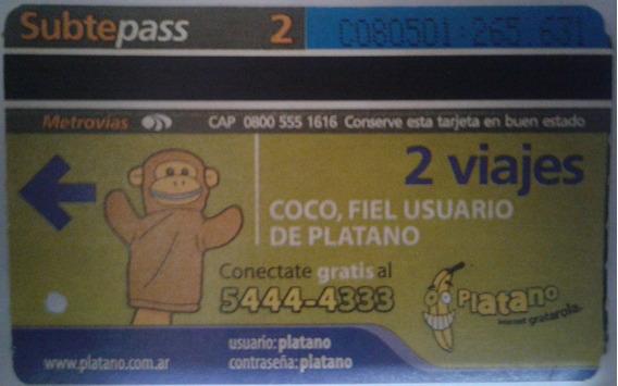 Tarjeta Subtepass Coco Platano 06/2004