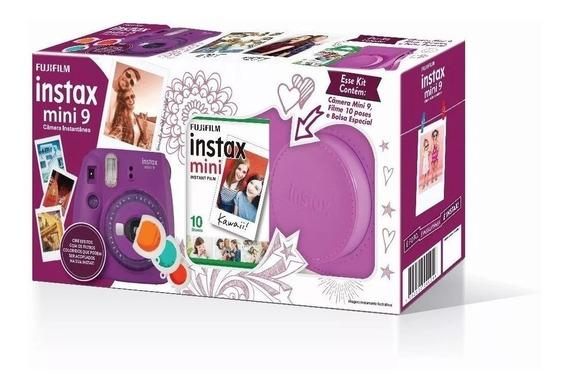 Kit Câmera Instax Mini 9 Roxa: Câmera, Bolsa + 10 Fotos