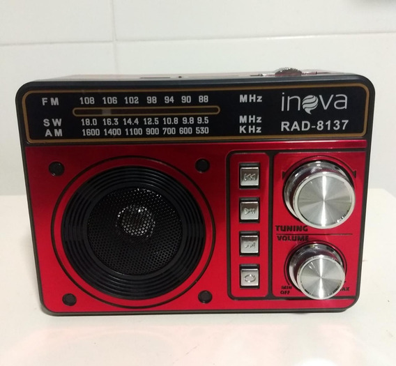 Rádio Retrô Am Fm Sw Analógico Usb Sd Inova Rad-8137