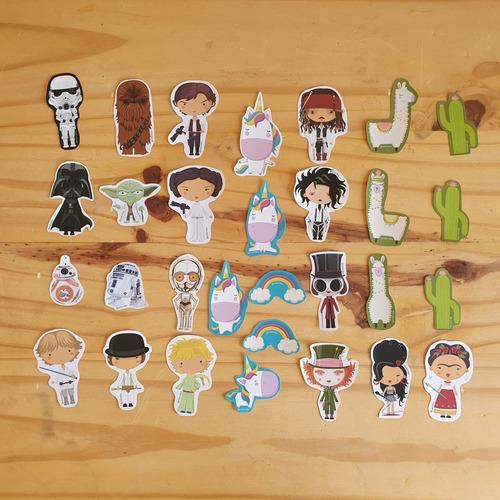 Imagen 1 de 3 de Pack De 30 Stickers - Personajes - Llamas - Unicornios Y +