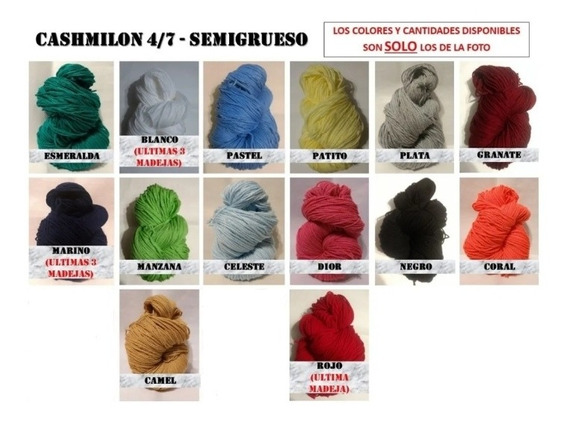 Lana Cashmilon Semigruesa 4/7 - 6 Madejas A Elección