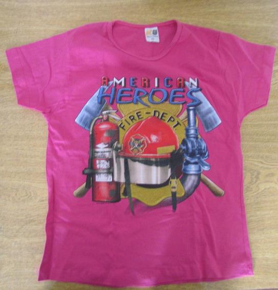 Camiseta Baby Look Feminina Bombeira Bombeiros Rosa