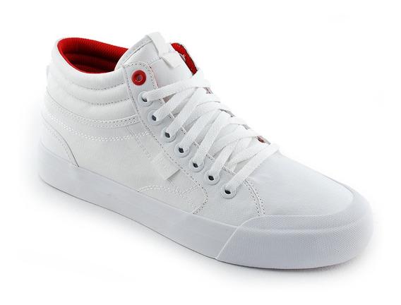 Zapatilla Urban Lona White Red Evan Hi Tx Se Dc Mujer