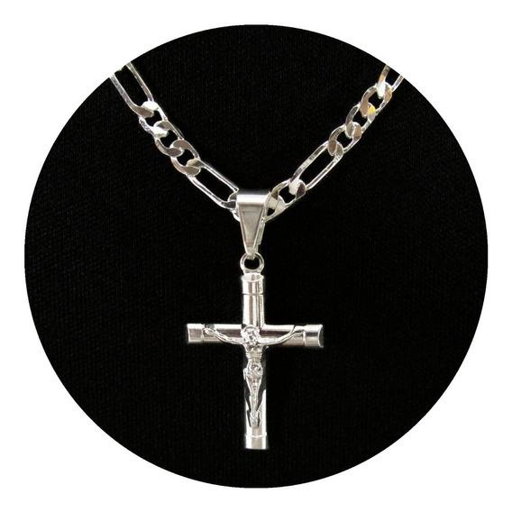 Corrente Masculina Crucifixo 3x1 60cm Banhada A Prata