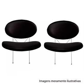 Par Cadeiras Poltronas Decorar Tulipa Couro Preta Lr-7809lp