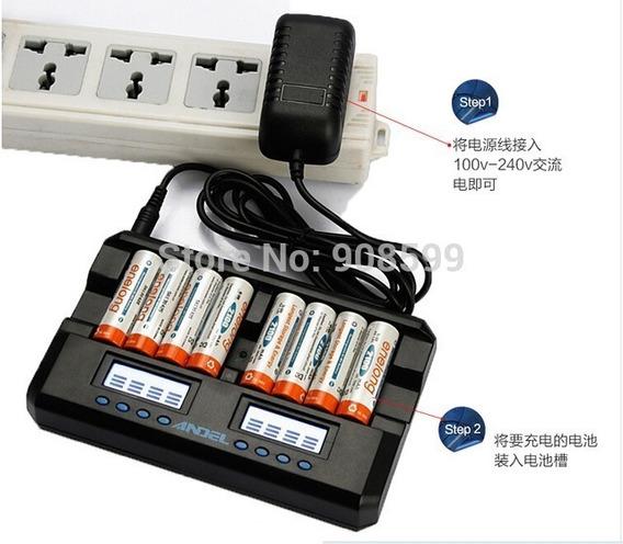 Carregador 8 Digital Pilha Aa Aaa Bateria Universal