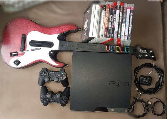 Ps3 + 2 Controles Originais + Guitar Hero5 + 14 Jogos