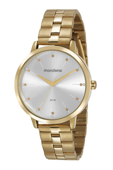 Relógio Mondaine Feminino Analógico Dourado Prova D