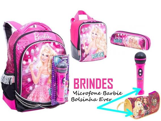 Kit Mochila M + Lancheira + Estojo Barbie Rock