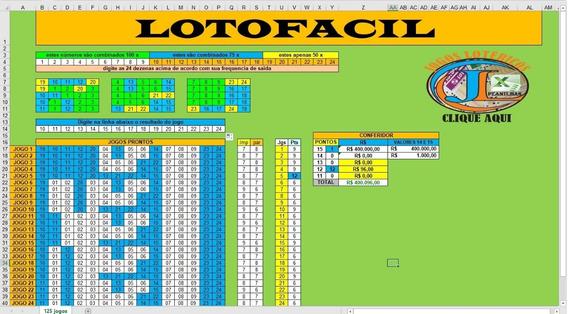 Planilha Lotofacil Com 24 Dezenas Em 125 Jogos