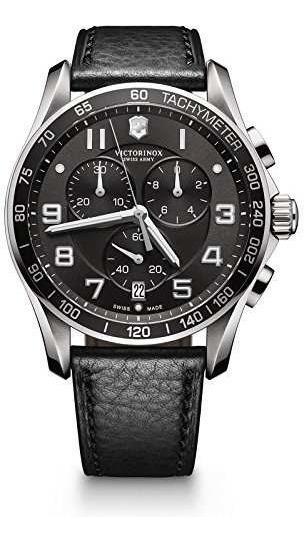 Reloj Negro Victorinox Chrono Classics Xls 45mm Para Hombre