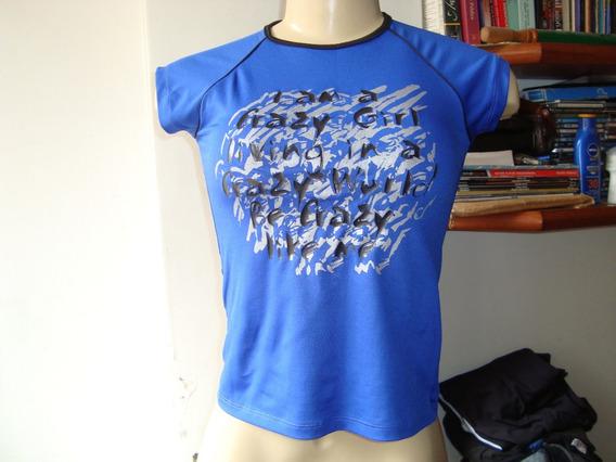 Camiseta Para Ginástica Em Azul - Tam. M - Frete R$ 7,00.