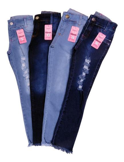 Kit 3 Calças Jeans Feminina Menina Infantil Com Regulador