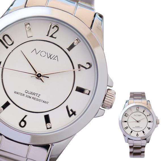 Relógio Feminino Prateado Nowa Strass Original