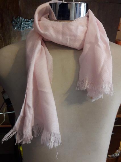 Bufanda Auténtica Lana De Alpaca Y Vicuña Color Rosa Bebe.
