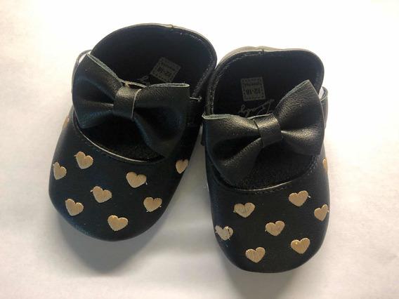 Zapato Guillermina Negro Dorado 12 18 Meses Cuerina Abrojo