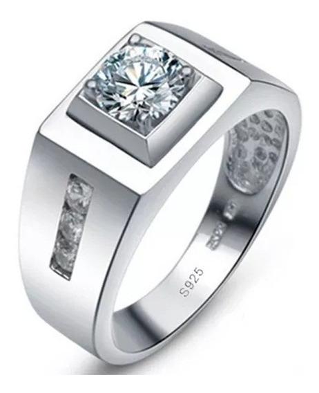 Anel Masculino Elegante Prata 925 Zircônia 0.75ct Cz Diamond