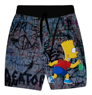 Bermuda De Moletom Masculino Bart Grafiti Simpsons Ds62