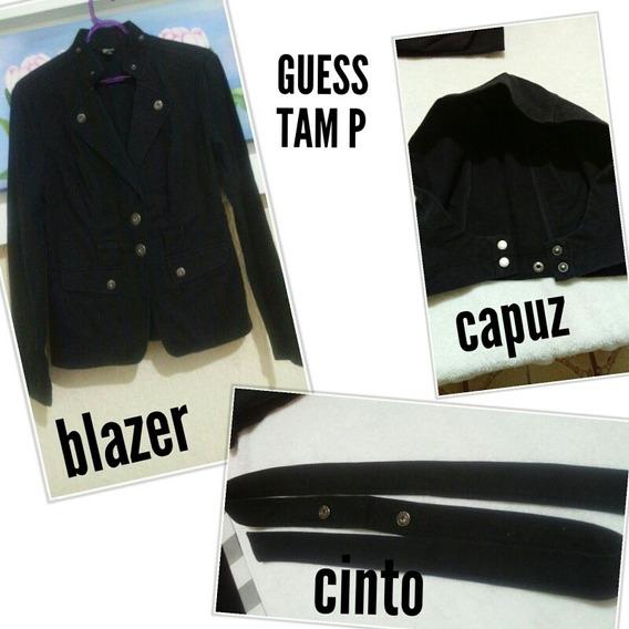 Blazer /casaco Com Capuz E Cinto, Tam P, Feminino, Da Guess